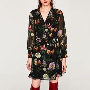 Zara Floral Wrap Long Sleeve Dress
